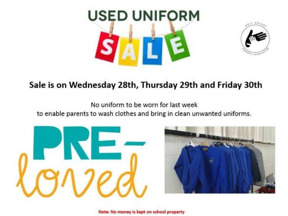 Holy Rosary Primary School uniform sale Wednesday 28th June Friday 30th June